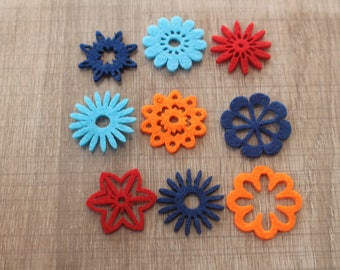 RED BLUE ORANGE FELT FLOWERS