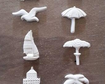 Beach vacation plaster figurines