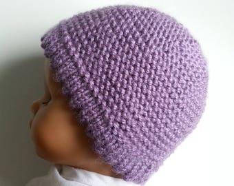 Lavender color 0-3 month baby Hat