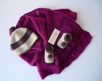 Fancy crib blanket. Cradle, pram or bassinet (90 x 65 cm) handmade