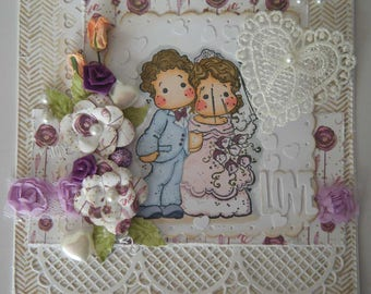 Congratulation card for a wedding with a couple of characters