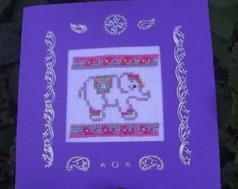 Hand embroidered card: Elephant and cashmire designs