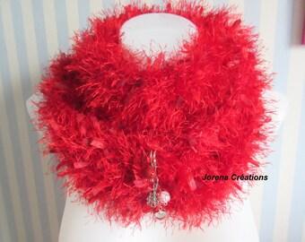 Scarf around neck 2 in 1 woolen red polyester hairy