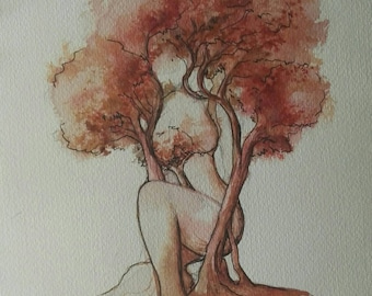 A watercolor of tree woman