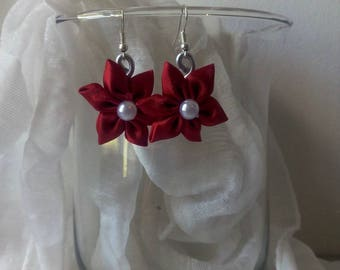 Earrings with Red satin flower