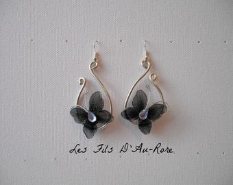 Black earrings with aluminum wire and black Butterfly