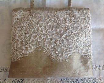 Beige silk and Ecru lace door cushion