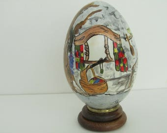 Elf cottage painted on a goose egg