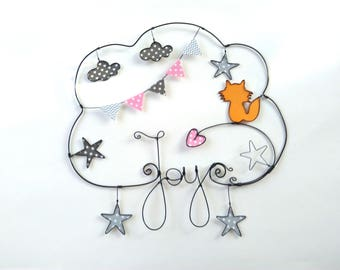 """""""My little fox"""" personalized wire name wall decor for child's room"""