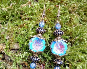 Blue flower hanging earrings