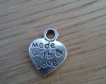 "5 heart charm ""made with love"""