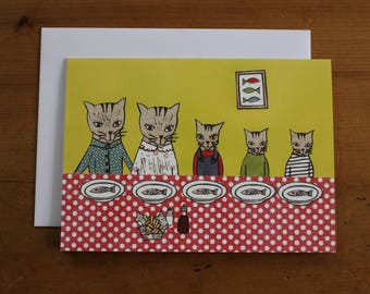 Cat Family, Fish Supper, Greeting Card