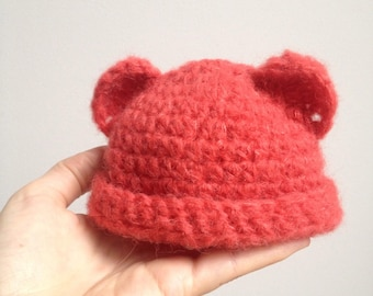 Coral wool Teddy bear baby Hat