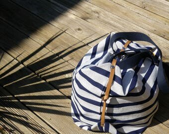 Navy, Beige and blue origami bag