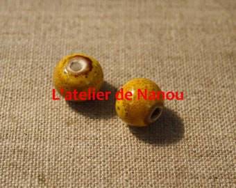 handmade 12mm yellow ceramic bead