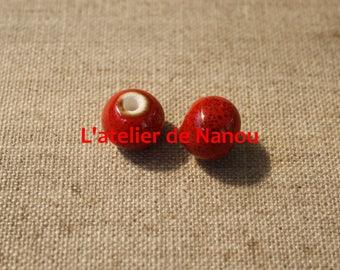 handmade 6 mm red ceramic bead
