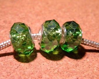 3 bead charm European-14 x 10 mm Green Emerald D105 13 faceted glass