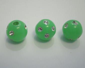 20 rhinestone 8 mm neon green shamballa beads