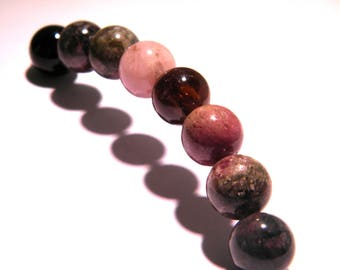 beautiful 5 beads 10mm shades pink and Brown tourmaline - black - PG217 - gem stone
