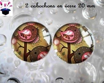 2 glass cabochons 20mm autumn birds theme