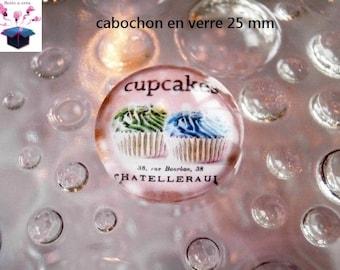 1 cabochon 25 mm glass round cake macaroon theme