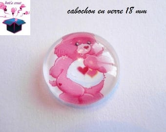 1 cabochon clear domed 18 mm Pooh pink