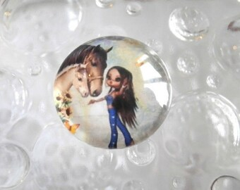 1 cabochon clear 20mm miss horse theme
