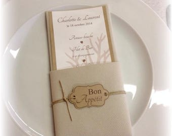 Original, nature, kraft, burlap wedding table menu