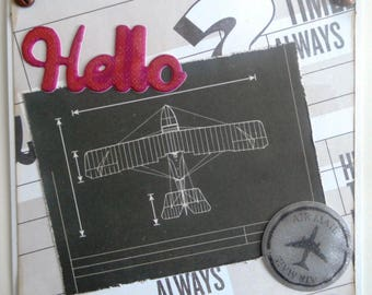 greeting card ' hello air mail' plane