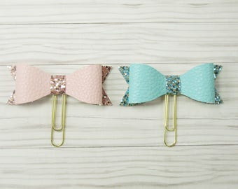 Bow Planner paper Clips, Faux Leather bow planner clip, Planner Clip, Bow Paperclip, Bookmark, Planner Decor, Filofax, Kikkik, Happy Planner