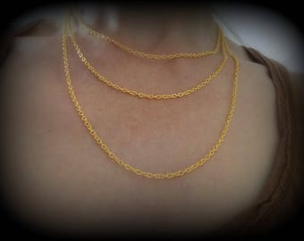 Triple strand gold - plated link chain of 2 x 3 mm - 41 cm chain