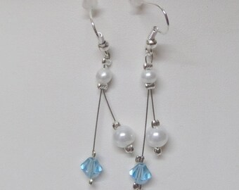 "Wedding bridal flower organza and turquoise swarovski ""Crystal"" earrings"