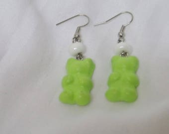 Greedy earrings lime green Teddy bear