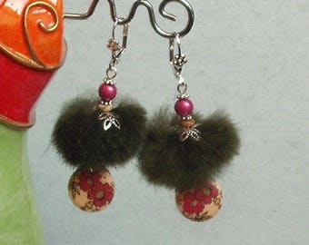 Earrings sleepers silver Pompom fur and wood