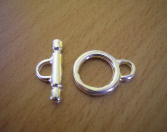Small 10 mm silver plated Toggle clasp
