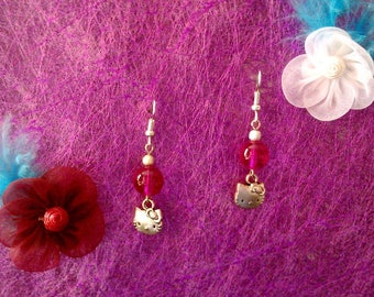 Pink Pearl and Cat Head earrings