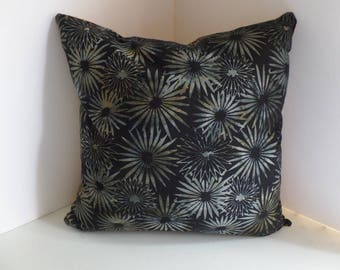 Decorative Pillow Cover Zippered, 16x16 inches, Square, Two Sided, Black and Yellow Batik
