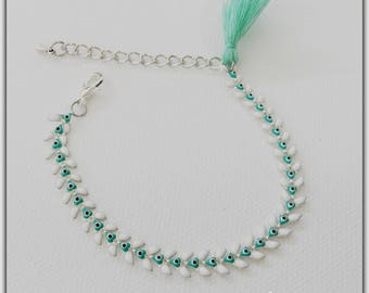 Epi, mint green and white chevrons, chain bracelet enamel silver plated chain