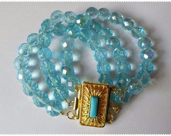Three-row pearl bracelet blue