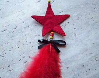 Christmas tree decoration, hanging star and feather red wedding christening