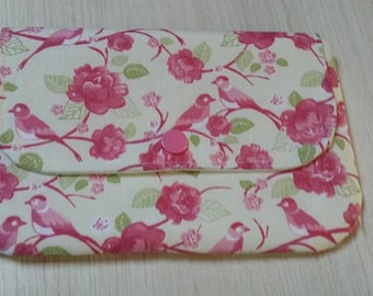 Small clutch purse pink birds
