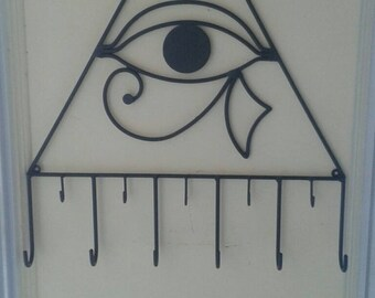 "Eye of Hilarion wallhanging ""Eye of Horus"" lucky charm talisman evil eye art artistic metal coat rack good vibes home decor"