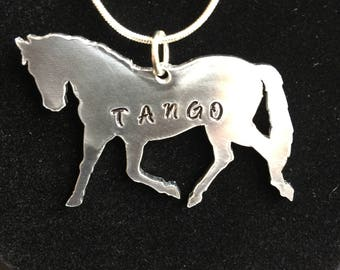 Horse personalized charm necklace, custom stamp horse name, trotting horse, horse lover gift, equestrian gift