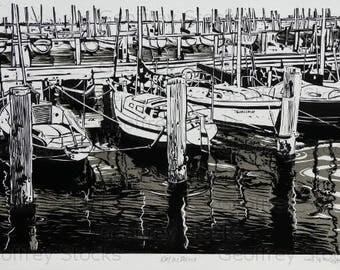 "Lino Print ""Reflections"""