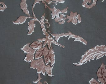 Printed grey cotton fabric coupon flowers, Brown taupe leaf 0.96 m x 1.30 m