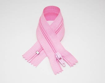 Zip closure, 18 cm, pastel pink, not separable