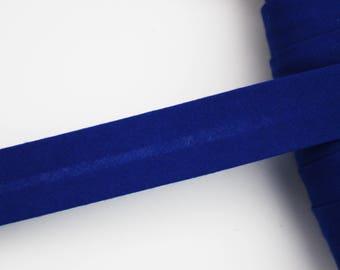 Navy Blue bias, 18 mm, universal pré-plissée cotton bias