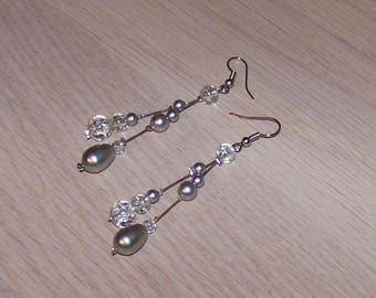 Bride, wedding earrings grey / cheap earrings, Crystal