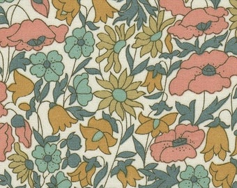 coupon fabric pink blue LIBERTY poppy and daisy pattern