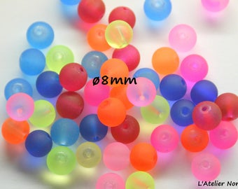 """Set of 42 """"NEON"""" ø8mm color neon Mix glass beads"""